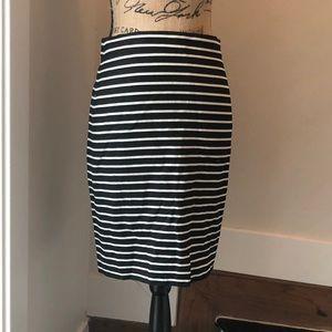J Crew Cotton Linen Pencil Striped Pencil Skirt